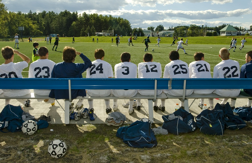 The Middlebury College soccer team home bench watches their game against Castleton State, 9/12/2007