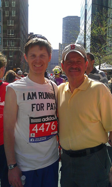 Ben and his father Richard after running the Boston Marathon on Monday