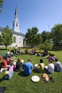 Instructor and students, on the lawn between Mead Chapel and Hepburn Hall.