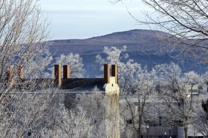 Painter Hall with frost on trees