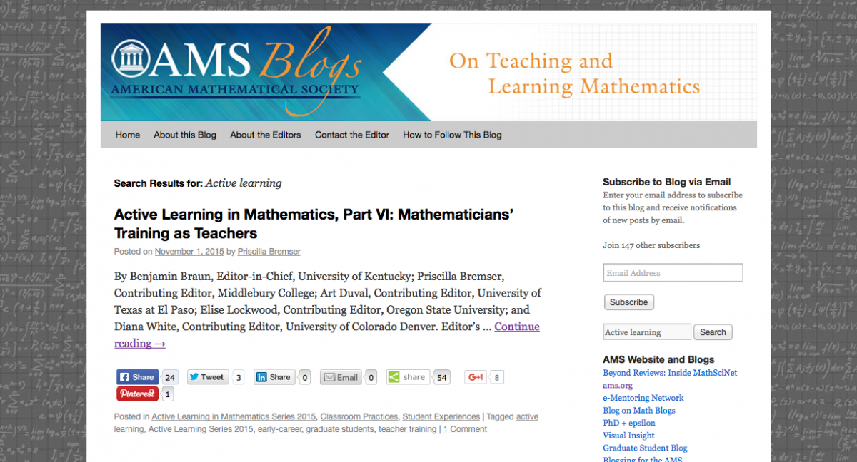 American Mathematical Society - On Teaching and Learning Mathematics blog