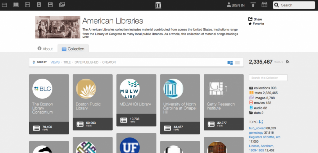 American Libraries page on the Internet Archive