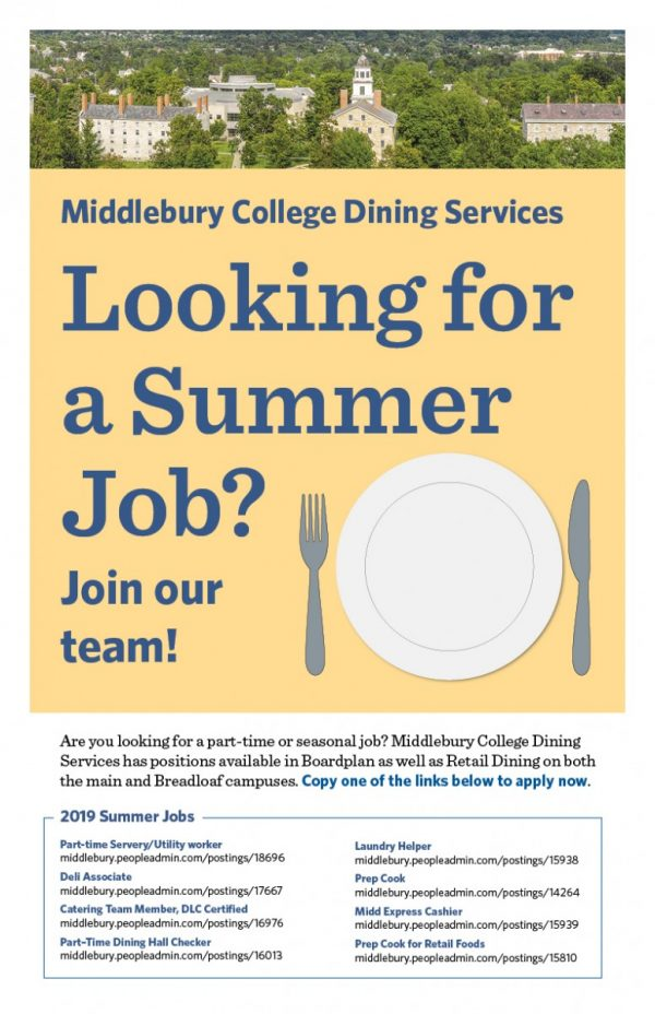 Summer Jobs with Dining Services