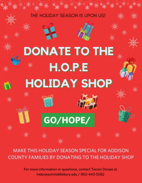 Invitation to donate to the HOPE Holiday Shop