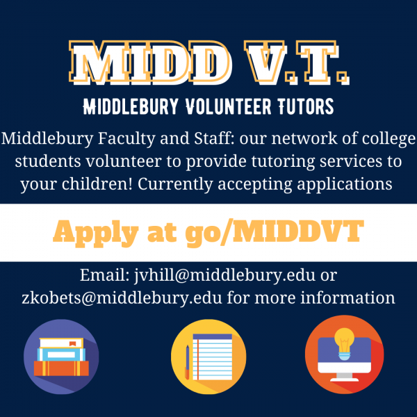Middlebury Volunteer Tutors Available to Support K-12 Youth in Staff and Faculty Families for Virtual Tutoring