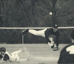 Shortstop Brian Hamm turns the double play, 2003