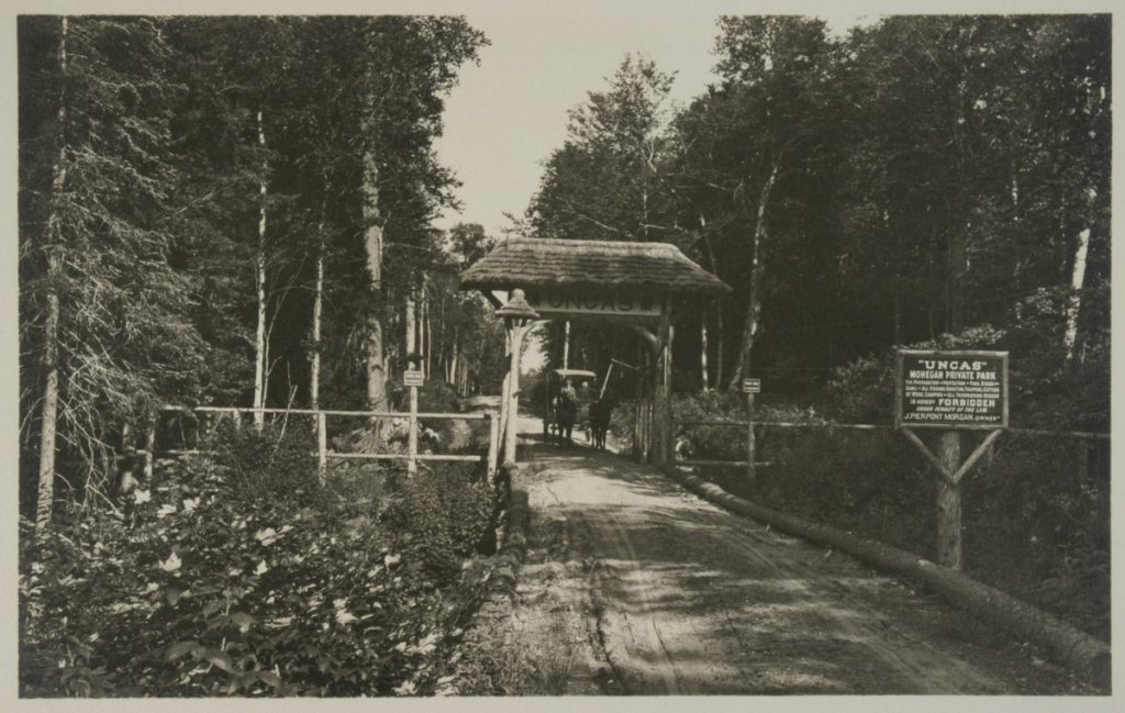 Entrance to J. Pierpont Morgan's Great Camp Uncas. Source: http://digitalcollections.archives.nysed.gov/index.php/Detail/Object/Show/object_id/14401