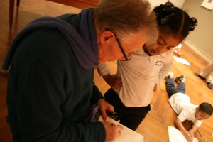 Michael Armstrong with a Lawrence student at the Addison Gallery in Andover, MA.