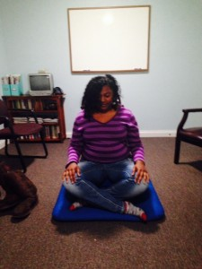 Nell Whitman's student , Shalita learns to meditate while shadowing a therapist.