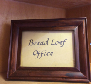 Ken Macrorie did the calligraphy on this sign in 1991. He affixed it to a file cabinet. Three years ago, Lise Johnson and I carefully cut it away from the cabinet when we discarded it, and she placed it in this frame. This Ken archive is permanent in the front office.