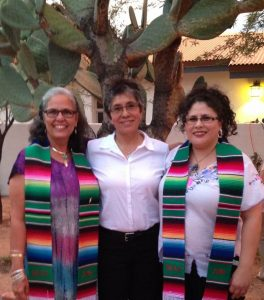 Dr. Ceci Lewis (left), the second PhD graduate from the University of Arizona UA Mexican Studies Department, with her colleague Andrea Hernandez Holm (the first PhD graduate from the program), along with dissertation committee chair Lydia Otero.