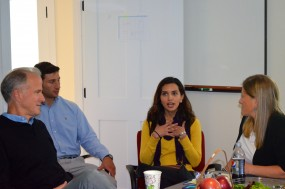 Rabeya Jawaid '16 recounts her experience in Pakistan while MSCE staff and advisory board members look on at our first MLab on September 13.