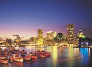The Baltimore Skyline and Inner Harbor at Night