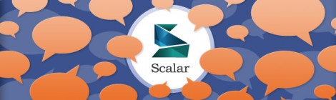 Graphic of Scalar logo with reading bubbles