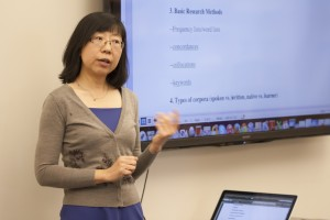 Photo of Hang Du presenting her research