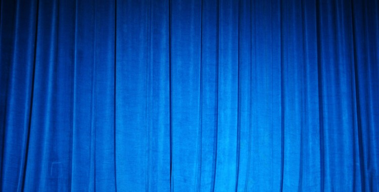 Blue velvet theatre curtain