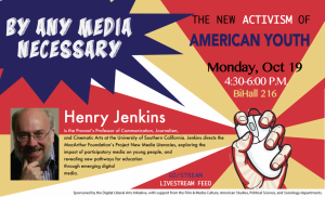 Promotional poster for Henry Jenkins lecture