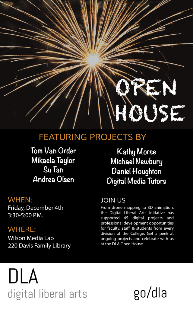 Promotional flyer for DLA open house.