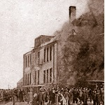 An image of Lake View School, Collinwood, Ohio on fire