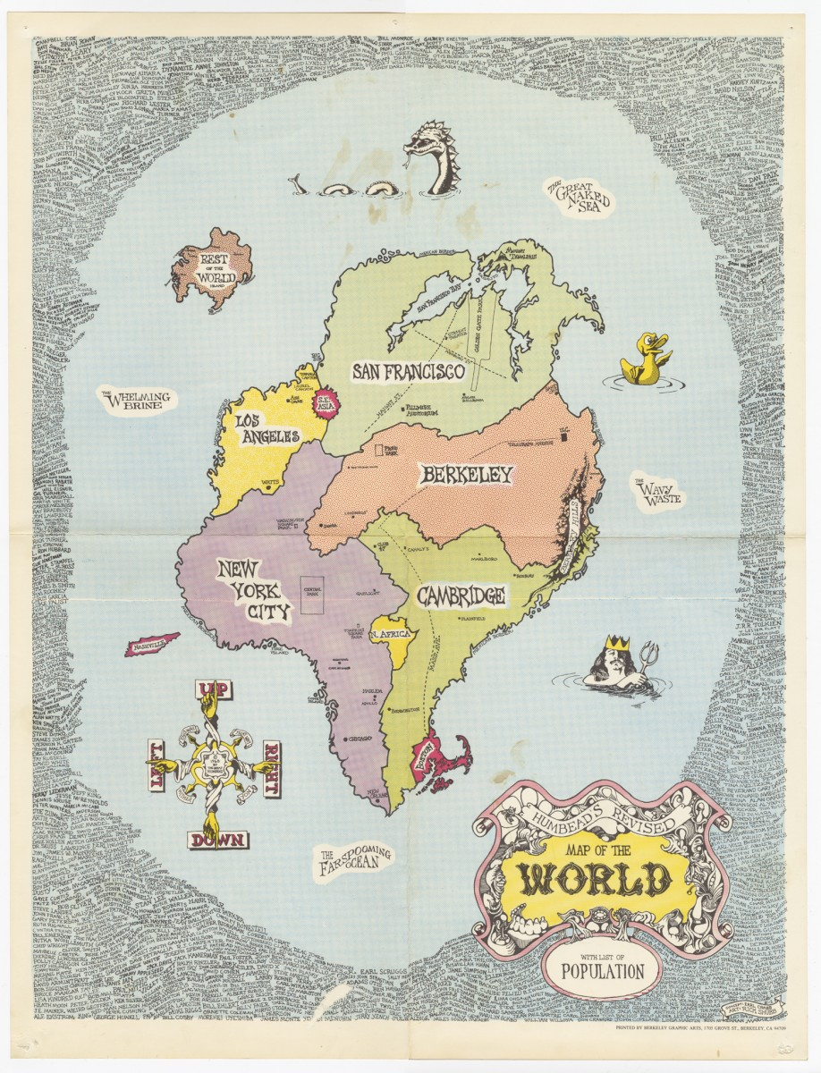 Earl Crabb & Rick Shubb, Humbead's Revised Map of the World, 1968. From the Berkeley Folk Music Festival Collection.