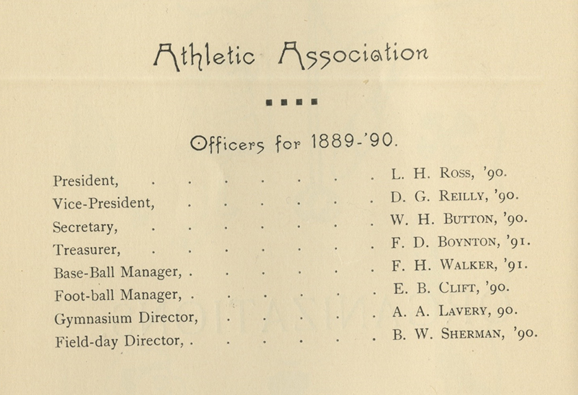 Athletic Association Officers for 1889-90.