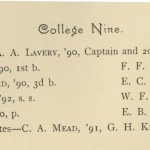 Baseball team roster, 1889.