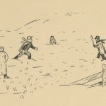 Drawing of students playing baseball in the snow.