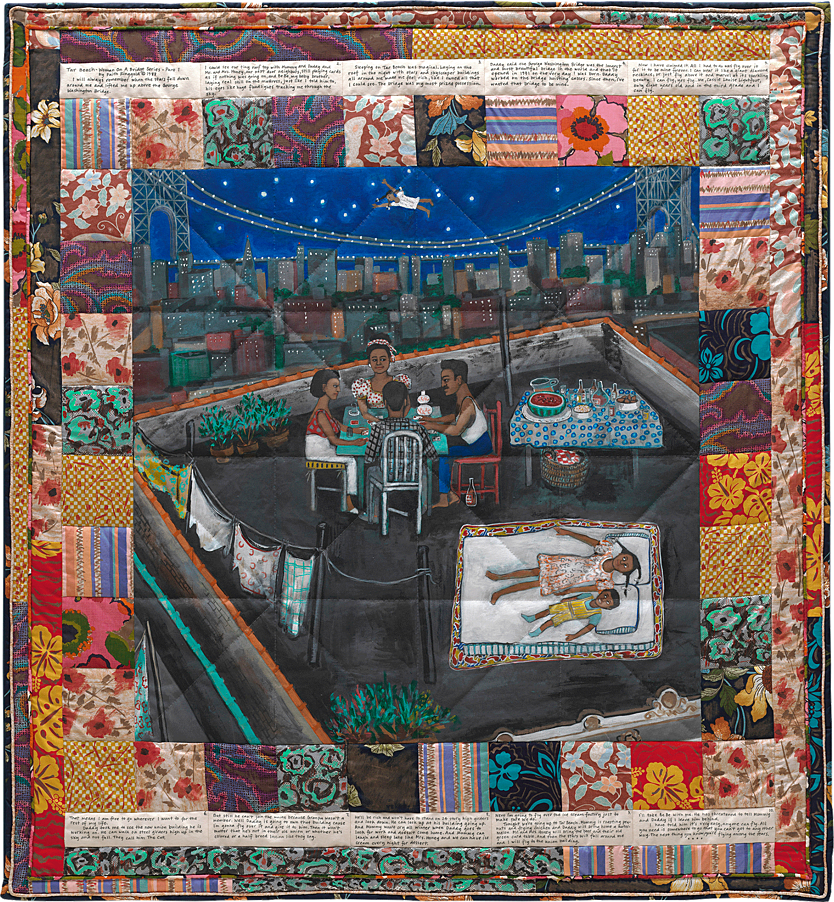 describe faith ringgold s tar beach painting Art history april 12, 2009 ringgold's story quilts faith ringgold's artwork on her quilts is not only beautiful but literally the content caught my attention to ringgold's image tar beach (pg1166) the image is acrylic on canvas paper.