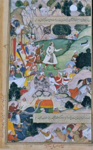 Akbar-Nama, Folio 77 Akbar's pilgrimage on foot to Ajmer in thanksgiving for the birth of Prince Mirza Salim (Jahangir) in 1569