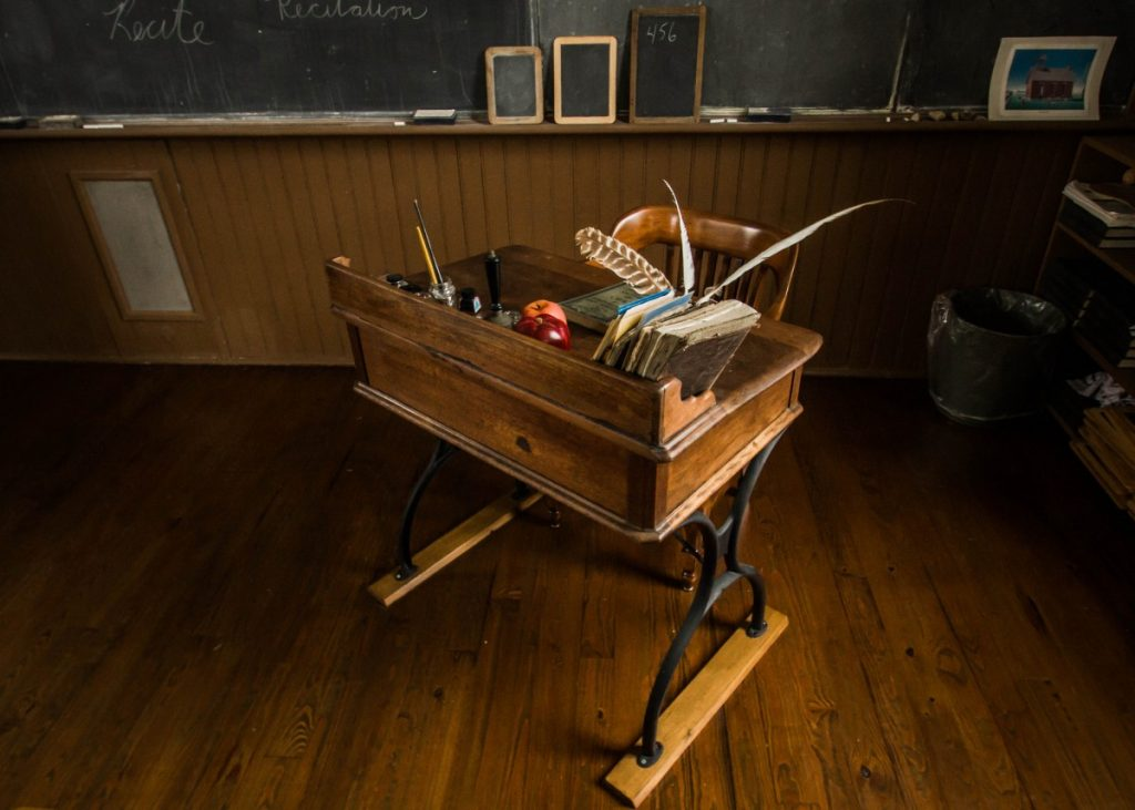 Picture of an old teacher's desk