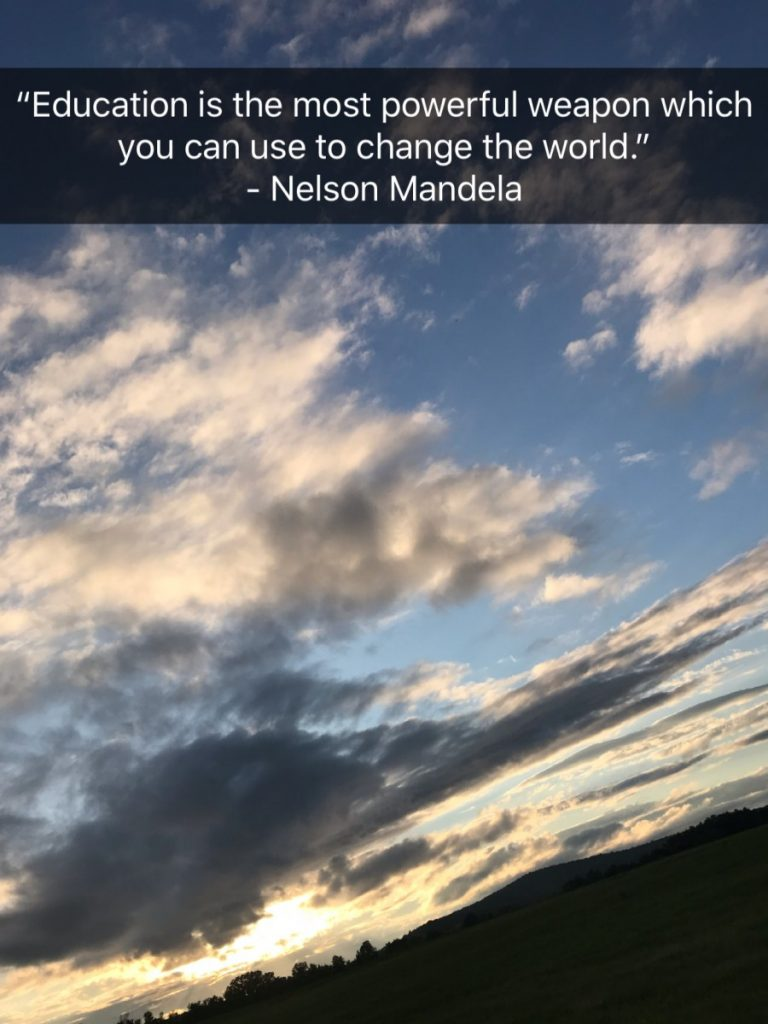 "Image of sky with Nelson Mandela quote: ""Education is the most powerful weapon which you can use the change the world."""