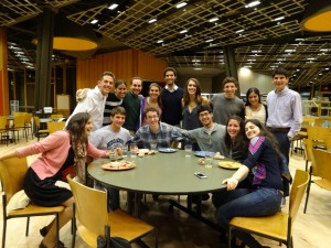 The team enjoys a delicious meal after the Yom Kippur