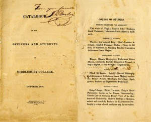 1818 Middlebury College Course Catalog with Latin and Classics Study