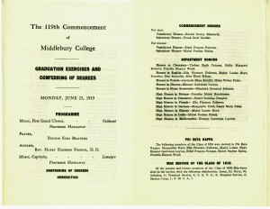 1919 Commencement Program French Department