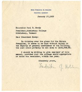 1923 Fredrika Holden Pledge Letter