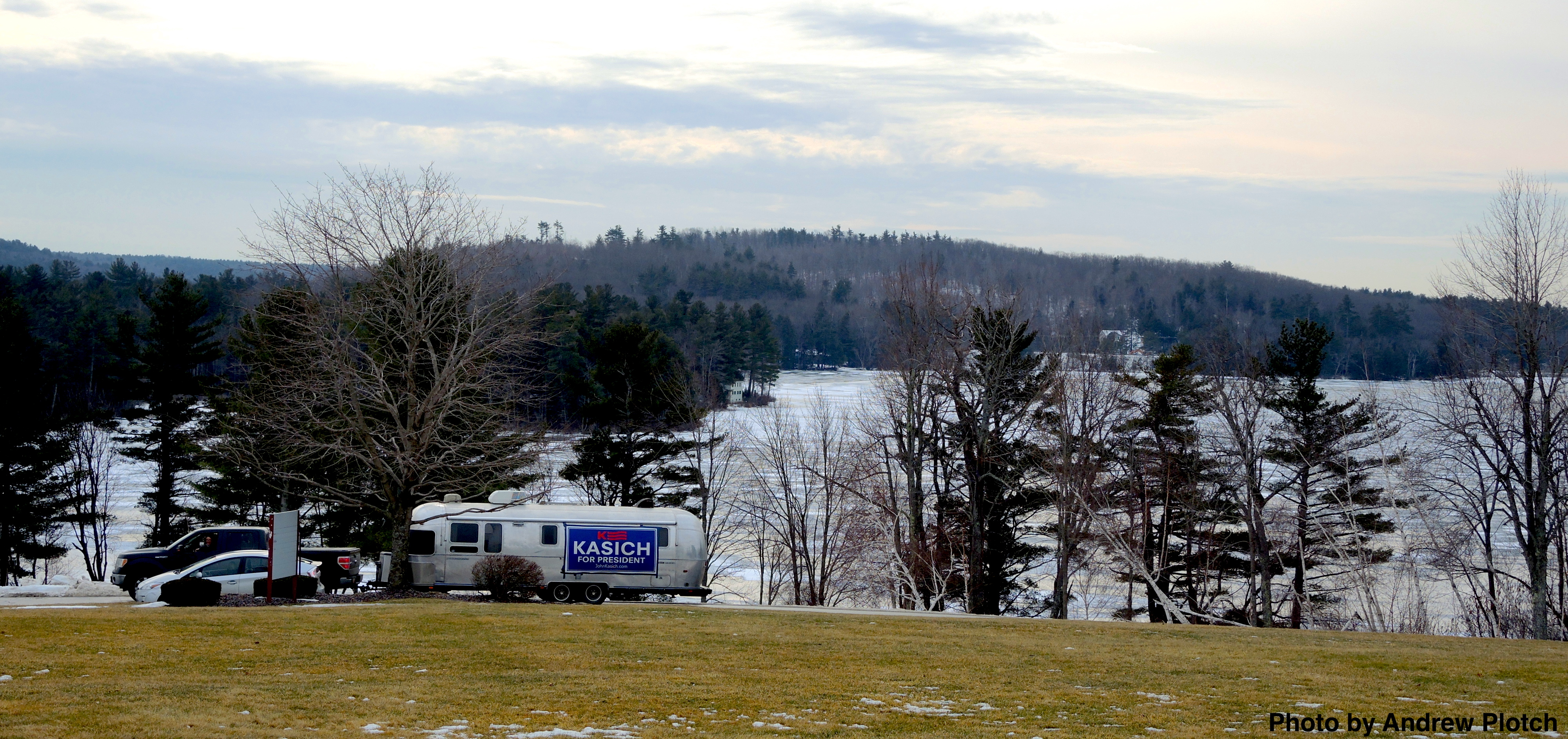 A Kasich supporter's decked out Airstream before a town hall event at Franklin Pierce University. Photo by Andrew Plotch.