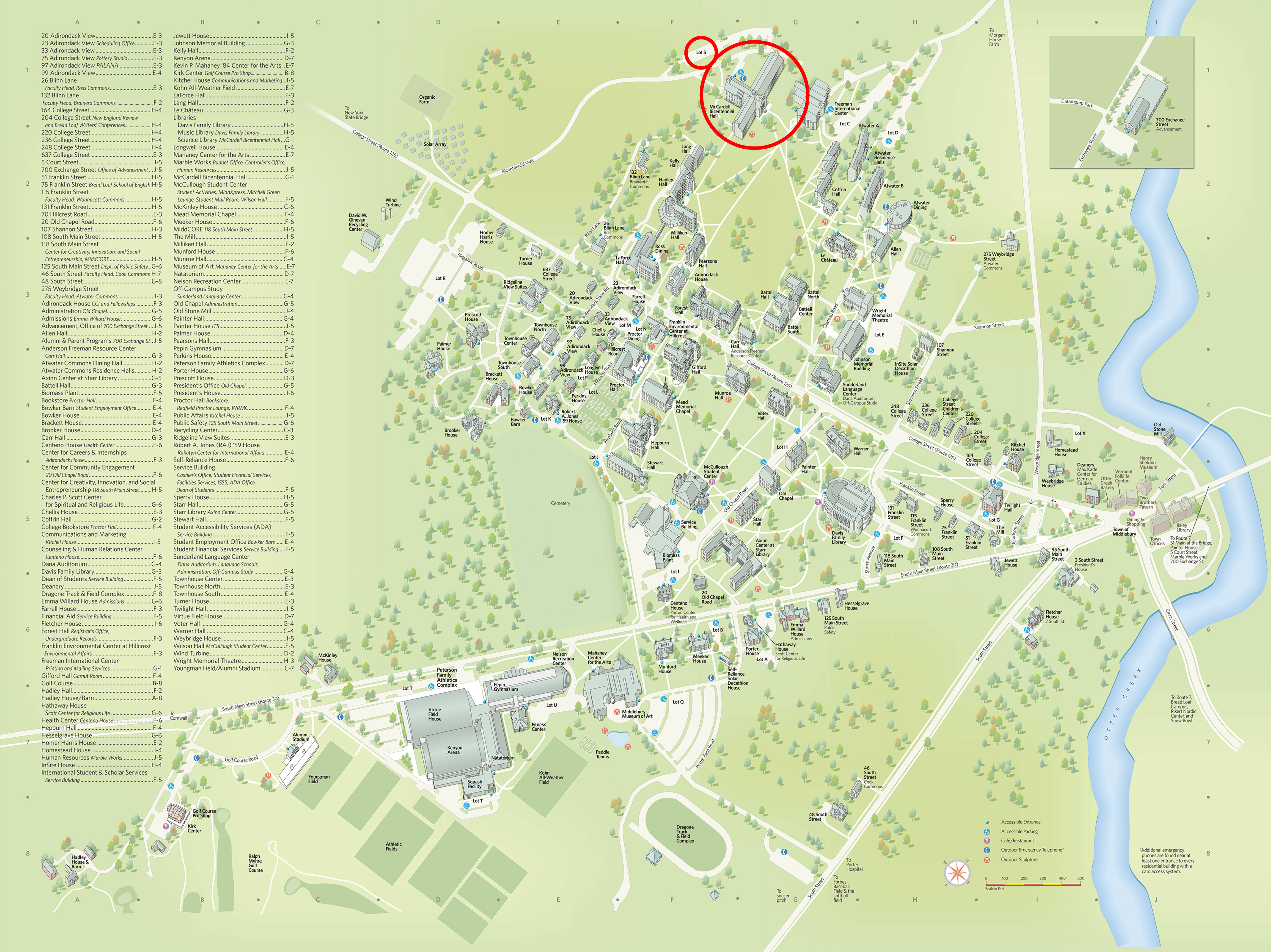 Middlebury Campus Map Locations – KNAC Student Research Symposium 2018