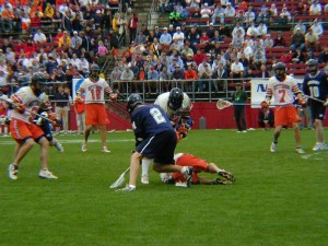 Holt Hopkins fights for a ground ball in the 2001 National Championship Game