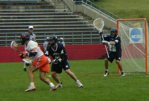 Eric Krieger defends the goal in the 2001 National Championship Game