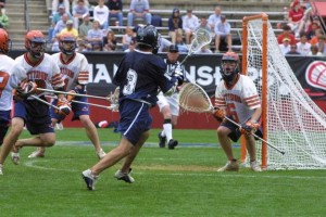 Zach Herbert attacks the goal in the 2002 National Championship Game