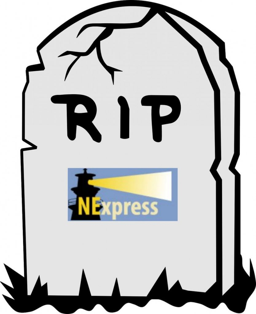 "Cartoon tombstone with ""RIP NExpress"" written on it"