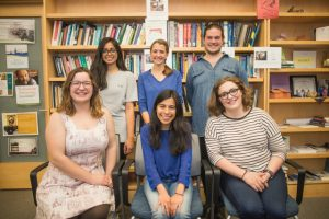 Photograph of CTLR student assistants Sabina Haque, Sadie Dutton, Tim Hansen, Julia Desmarais, Diana Carmona, and Monica Kramer.