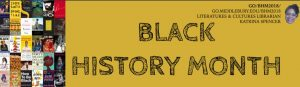 Black and gold banner announcing Black History Month, February 2018