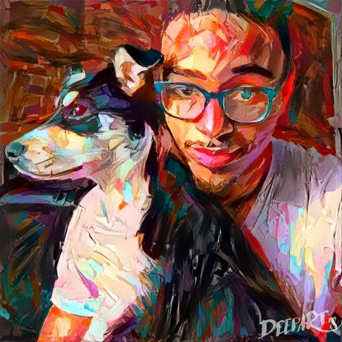 Photograph of Middlebury computer science professor Jason Grant and his dog, Winter, after deepart.io image processing