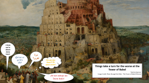 a painting and comic at the Tower of Babel