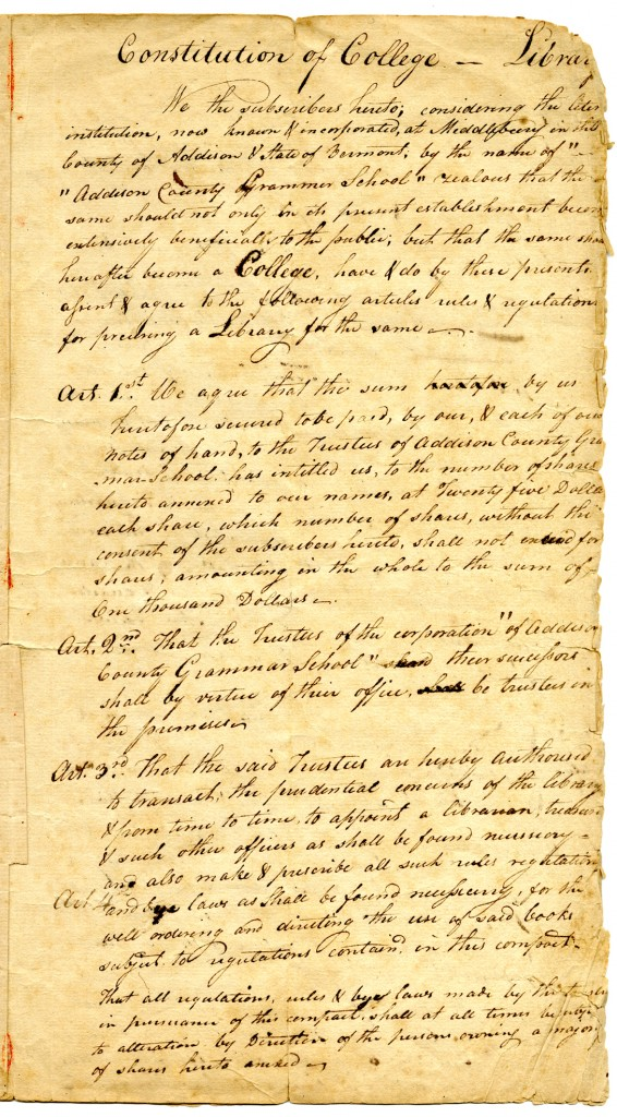 Middlebury College library constitution from April, 1800