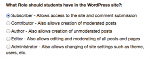 Choose which role to give students in the WordPress site.