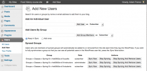The instructors, students, and audits groups are automatically added to WordPress by the Course Hub.