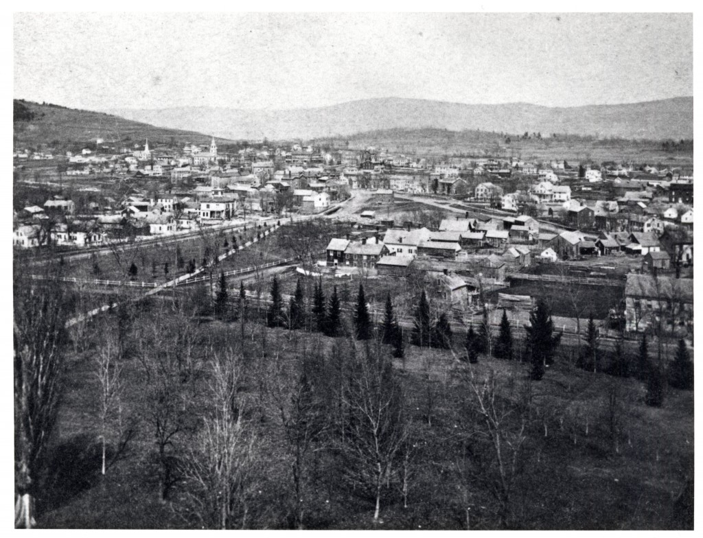 View of Academy Park from Old Chapel.  Notice the building site of the Academy (now Twilight Hall) that replaced the previous wooden structure.