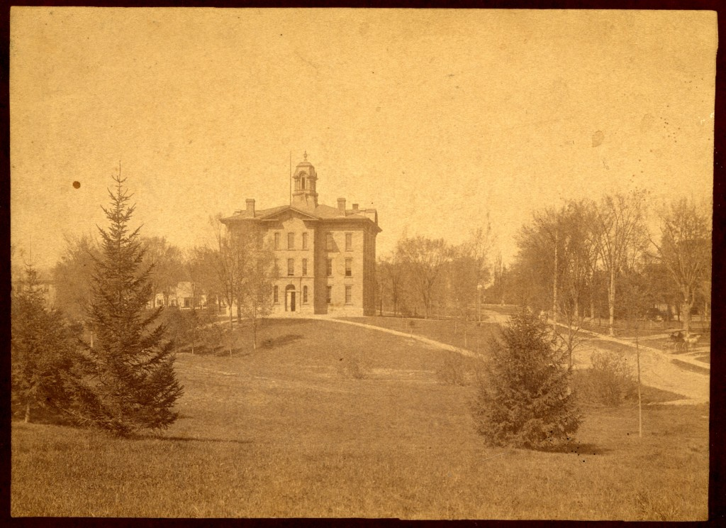 Academy Building in 1893, seen from the east end of the park between College and South Main St.